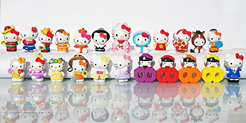 [RusToyShop] 10 psc random (size:2-3.5 cm) Hello Kitty Mini figures toys party favor birthday cupcake toppers cartoon series to children's holiday miniature, surprise baby, party favor Figurine