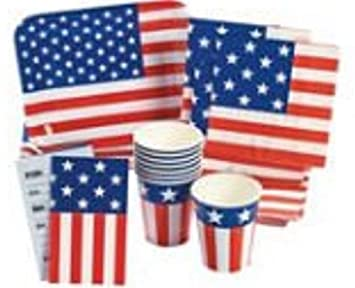 amazon com patriotic flag party pack 40 pieces tableware
