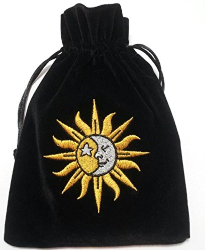 Sun/Moon Embroidered Luxury Tarot Bag Velvet 190 x 130mm Something Different