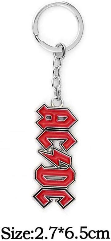 Blanco Llavero De Metal con Los ACDC Logotipo del Dise/ño Simple De La Cadena del Anillo del Coche del Anillo Dominante para Ni/ños Y Ni/ñas