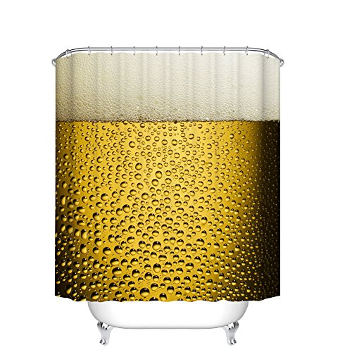 Fangkun Fashion Shower Curtain Beer Cup Art with Bubbles and Droplets Print - Cool Beer with Water Drops Design - Polyester Fabric Bathroom Decor Curtains with Hooks (YL068#, 72 x 72 inches) (Beer Shower Curtain)