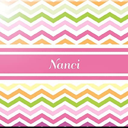 4 by 4-Inch Rikki Knight Nana Name Design Art Ceramic Tile Pink Chevron