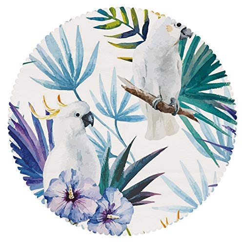 iPrint Upscale Round Tablecloth [ Tropical,Watercolor White Parrot Birds on Palm Tree Branches Leaves Exotic Nature Artwork,Multicolor ] Decorative Ideas