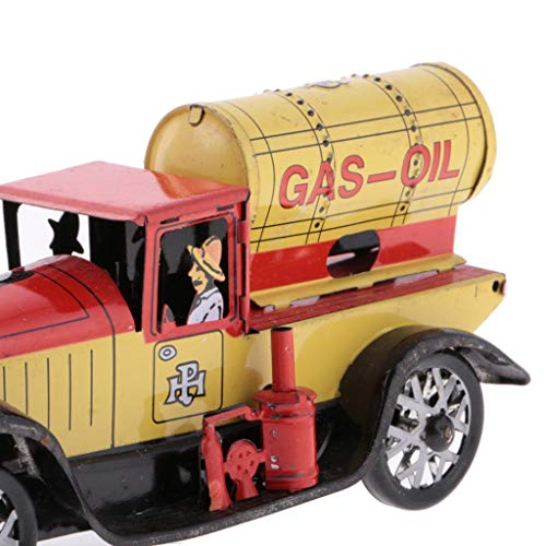 FidgetKute Retro Wind Up Gas-Oil Truck w/ Key Clockwork Metal Tin Toys Collectible Gift