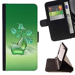 - Fruit Macro Pears - - Monedero PU titular de la tarjeta de cr????dito de cuero cubierta de la caja de la bolsa FOR Apple Iphone 6 PLUS 5.5 RetroCandy