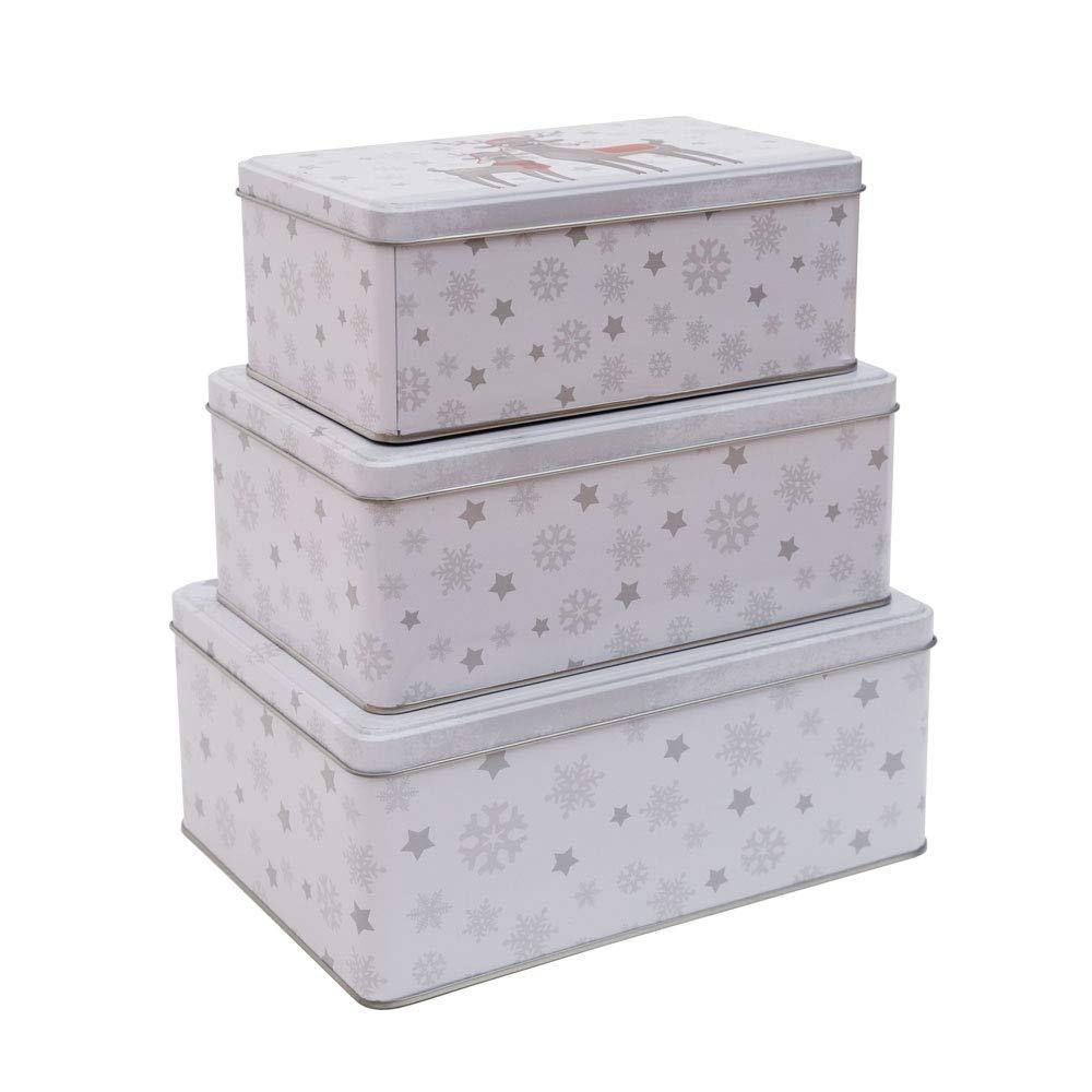 Latas de galletas Christbaumkugeln formato redondo de Navidad juego de 3/unidades forma y color a elegir cuadrado