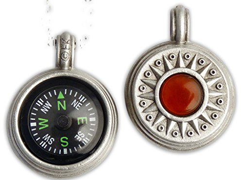 Journeyworks Compass Rose with Carnelian Compass Pendant