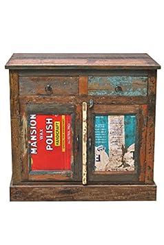 Kommode Rangila 90x90x45 cm Shabby Chic Massivholz Recycletes Holz Bunt