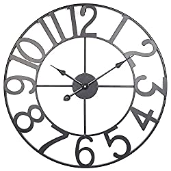 BEW Wall Clock, 24-Inch Rustic Decorative Metal Clock with Arabic Numbers, Silent Battery Operated Round Hanging Clock for Bedroom, Living Room, Office, Apartment, Cafe