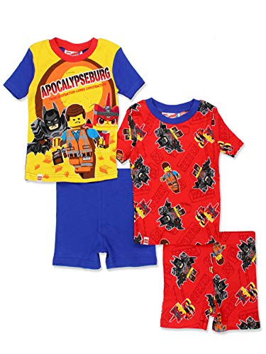 (Lego Movie 2 Boy's 4 piece Short Sleeve Tee Shorts Pajamas Set (6, Blue/Multi))