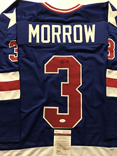 Autographed/Signed Ken Morrow Blue Team USA Miracle On Ice 1980 Hockey Jersey JSA COA (Autographed Jersey Usa Hockey 1980)