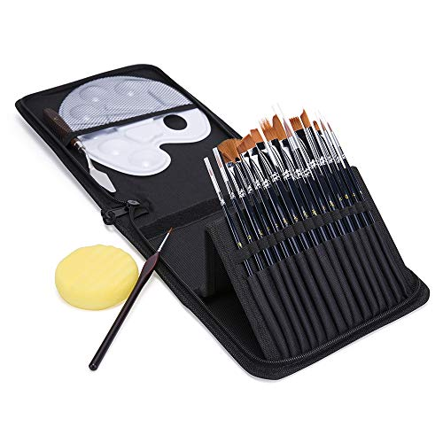 Sixbagin Artist Paint Brush Set, Oil-15 Different Sizes Nice Gift for Artists, Metal Ring Made of Copper Tubes, Free Painting Knife,Watercolor Sponge,Piece Paint Tray Palette,a Detail Brushes ()