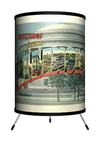 Lamp-In-A-Box TRI-TRV-ILLIN Travel - Illinois Postcard Tripod Lamp, 8'' x 8'' x 14'' by Lamp-In-A-Box