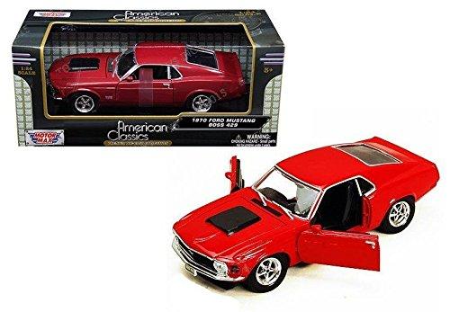 New 1:24 W/B AMERICAN CLASSICS - RED 1970 FORD MUSTANG BOSS 429 Diecast Model Car By MOTOR MAX - Mustang Boss 429 Model