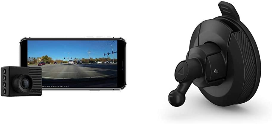 """Garmin Dash Cam 56, Wide 140-Degree Field of View in 1440P HD, 2"""" LCD Screen and Voice Control, Very Compact with Automatic Incident Detection and Recording & Mini Suction Cup Mount for Speak"""