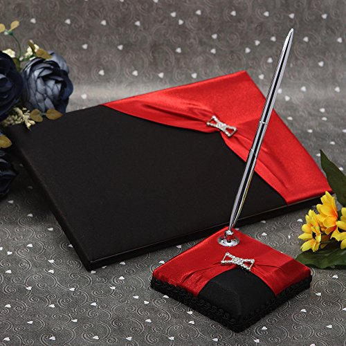 (KateMelon Wedding Accessories Black and Red Guest Book with Pen Set)