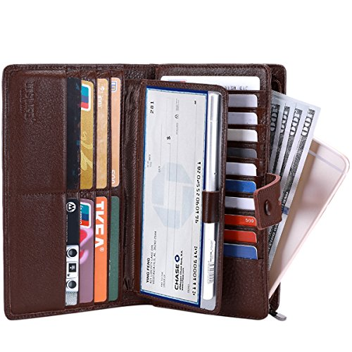 Itslife Women's Big Fat Rfid Leather wallet clutch organizer checkbook holder (Coffee) Cowhide Leather Checkbook Cover