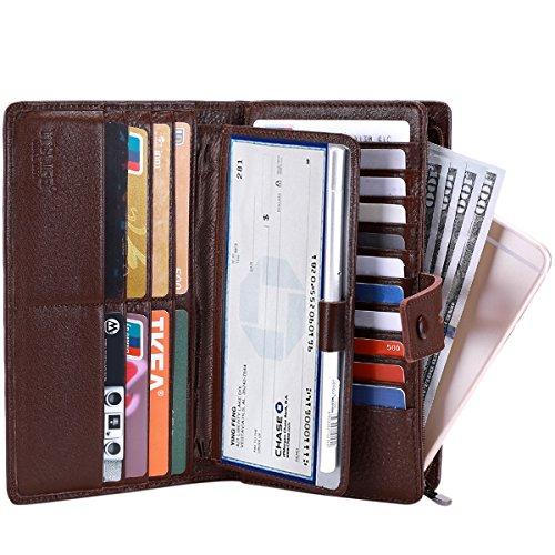 Itslife Women's Big Fat Rfid Leather wallet clutch organizer checkbook holder (Coffee) ()