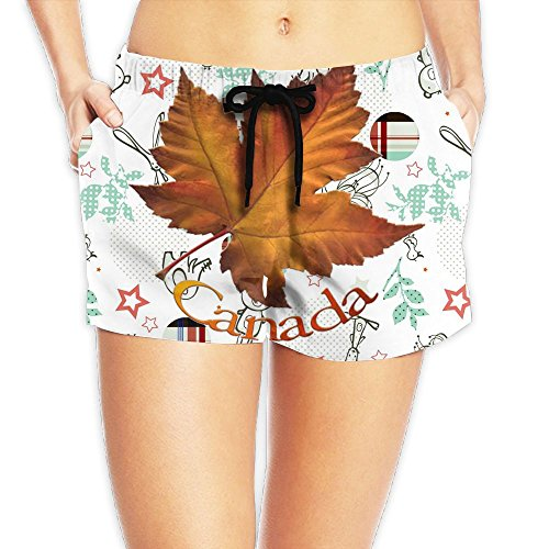 Decent Swimming Costume For Women (Canadian Maple Leaf Waist Shorts Women Short Jogging PantsComfortable Best)