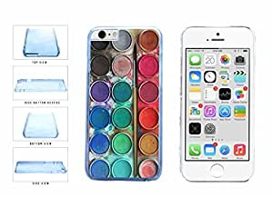 Messy Watercolor Paint Palette Clear Plastic Phone Case Back Cover Apple iphone 5 5s inches screen) includes diy case Cloth and Warranty Label