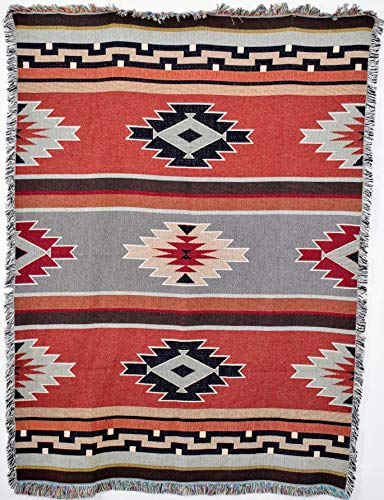 Boston Cotton Tapestry - Pure Country Weavers | Kaibab Southwest Blanket | Woven Throw with Fringe Cotton USA 72x54