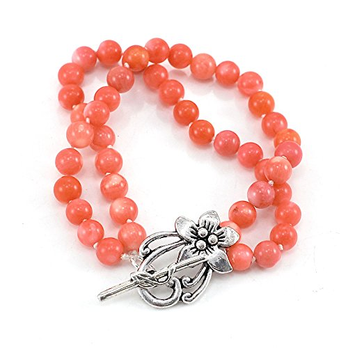 - Orange-red Coral Double Strands Bracelet with Silver Tone Toggle Clasp 8