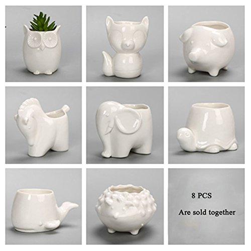 Le Jardin Candlestick - eknWAF Ceramic Flowerpot Planter Bonsai Garden Pots Planters Jardin Bonsai Desk Succulent Flower Pot Cute Animal Pots 8 Different Animals