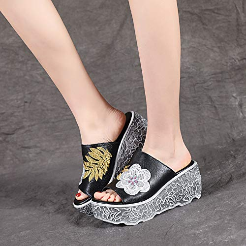 KPHY Eight Leather A Beige Thirty Slipper Shoes Slippers 8Cm Muffin Thick Heels Heels Outwear Sandals Slope Fashion Bottomed Summer High frUwxf4q