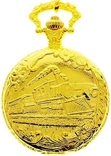 Unisex Antique Case Vintage Gold Rib Chain Quartz Pocket Watch - Crystal New London Mall