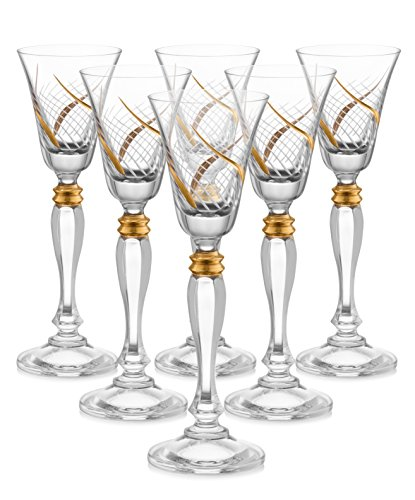 Set of 6 Handcrafted Cordial Liqueur Crystal Glass Drinking Glasses with Real Gold Detailing, Luxurious Gift for Men and Women - For Scotch, Vodka, Spirits, Liquors & Schnapps, 7