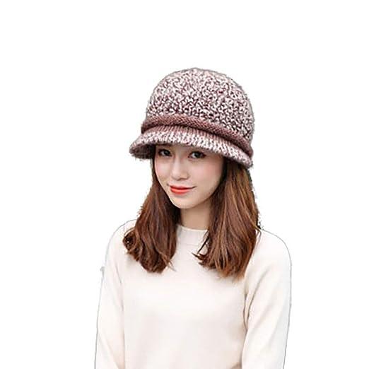 GUSTA Women Soft Warm Winter Hat Wide Brim Knitted Beanie Cap Visor at  Amazon Women s Clothing store  55cb0a120ec
