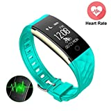 S2 Fitness Tracker Heart Rate Monitor - Mini Kitty Upgrade Version Smart Wristband IP67 Waterproof Swimming,GPS Bicycling Tracker Bluetooth Bracelet For Android IOS Phone,IPad(Green)