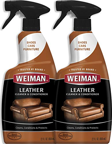 (Weiman Leather Cleaner and Conditioner - 22 Ounce (2 Pack) - Non-Toxic Restores Leather Surfaces - Ultra Violet Protectants Help Prevent Cracking or Fading of Leather Furniture, Car Seats, Shoes)