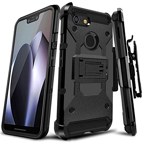 Google Pixel 3 XL Case, LEAPTECH [Holster Series] Full Body Heavy Duty Armor Protective Phone Case Cover with Kickstand and Belt Clip for Google Pixel 3 XL 6.7 2018 Release (Black)