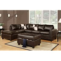 Lombardy Sectional sofa in Bonded Leather With Free Ottoman and Pillows (Espresso)