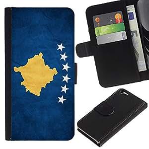 EJOY---La carpeta del tirón la caja de cuero de alta calidad de la PU Caso protector / Apple Iphone 6 / --Nacional bandera de la nación País Kosovo