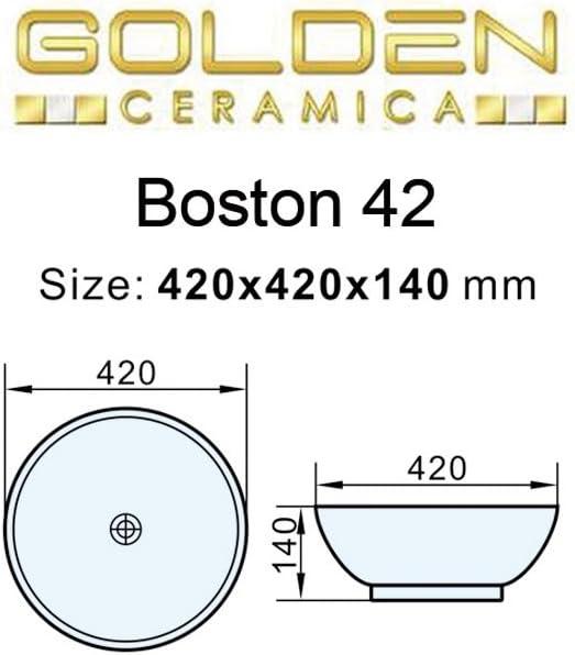 Rotondo Lavabo da appoggio Boston 42 per Bagno in Ceramica da arredo di Design Diametro 42