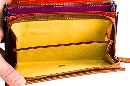 Cartera mujer MATTIOLI amarilla ocre fuelle con abertur de boton A4744