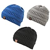 Baby Winter Warm Fleece Lined Hat, Infant Toddler Kids Beanie Knit Cap for Girls and Boys Black Gray Blue[0-5years] by REDESS