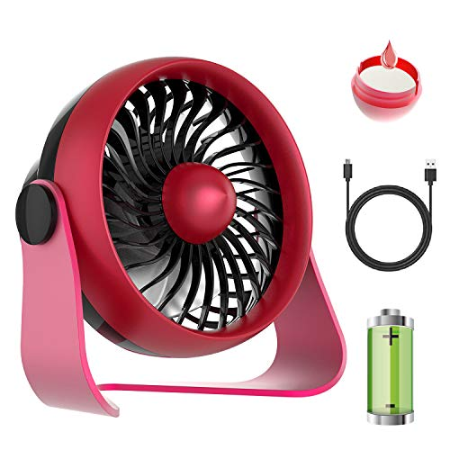 LEMOISTAR USB Desk Fan with 4 Speeds, Rechargeable Battery Operated Small Table Fan with Aroma Feature, 360 Degree Rotating Personal Fan for Home,Office Desktop and Dorm Red