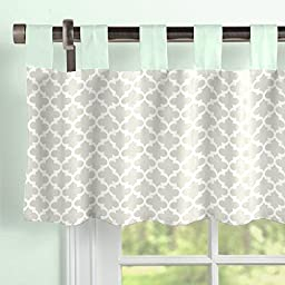 Carousel Designs French Gray and Mint Quatrefoil Window Valance Tab-Top