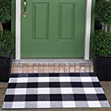 Cotton Buffalo Check Rugs Front Porch Rug Doormat 2' x 3' Plaid Rug Outdoor Buffalo Checkered Throw Rug Black and White Farmhouse Checkered Door Mat Washable Woven Mat (23.6'x35.4', Checkered Black)