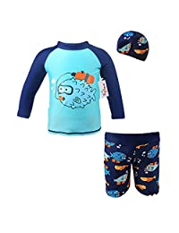 Boys' 3 Pieces Swimsuits Swim Trunks T-shirt Swimwears (height 80-130cm)