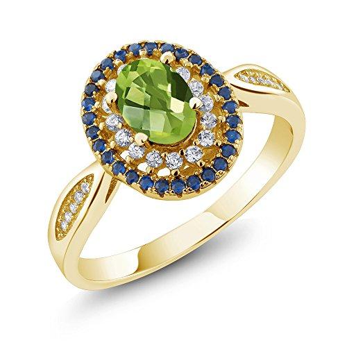 18k Peridot Ring (1.60 Ct Oval Checkerboard Green Peridot 18K Yellow Gold Plated Silver Ring)