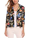 Beyove Women Notch Lapel 3/4 Sleeve Casual Work Open Front Cardigan Jacket Peplum Style Office Blazer