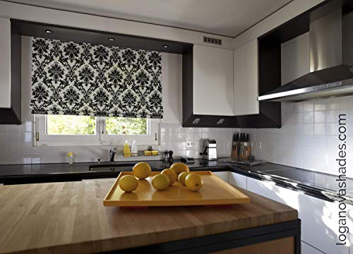 LOGANOVA Black and White Roman Shades For Windows and French doors. Cordless Motorized or Chain Mechanism. Easy Install. Effective Blackout Lining Option. Custom Made To All Sizes.