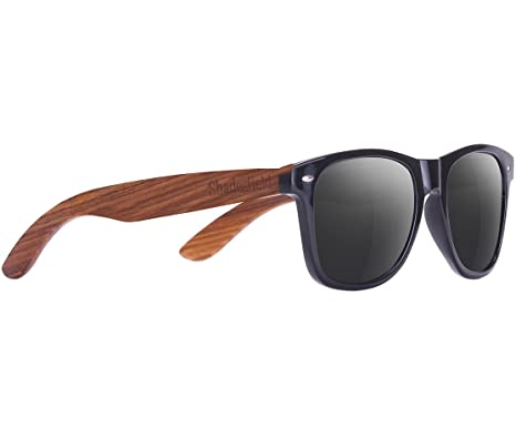 SHADESFIELD Wayfarer Zebra Wood Sunglasses with Black Polarized Lenses for Men or Women