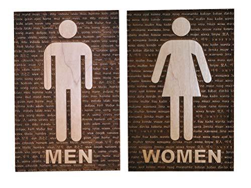 Men Women Bathroom Restroom Sign, 50 Languages, Solid Wood (Sign Language Tools)