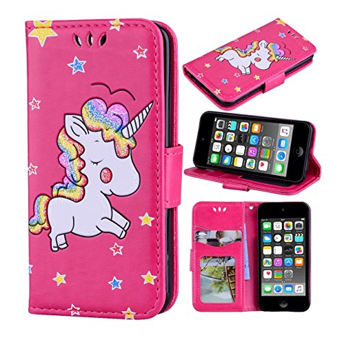 iPod Touch 6 Case, iPod Touch 5 Case,[Magnetic Flip Wallet] [3D Bling Glitter Colorful Unicorn Embossed] Folio PU Leather Wallet Stand Case with Card Slots for Apple iPod Touch 5 6th Generation