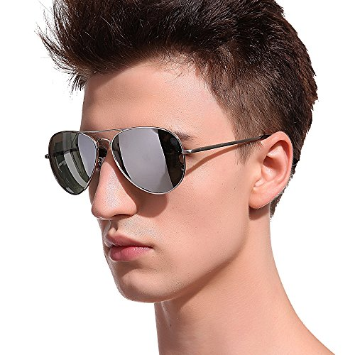 MT MIT Classic Aviator Polarized Mirrored Lens Metal Frame UV400 Sunglasses for Men - Sunglasses Polarized Men For Mirrored Aviator
